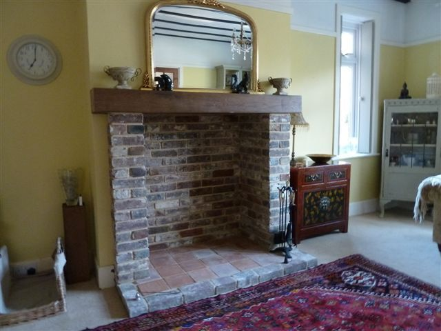 9. Beam and hearth installed
