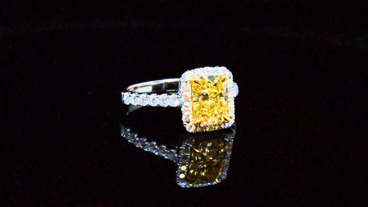 Radiant Cut Fancy Intense Yellow Canary Dimond Engagement Ring EGL Certi...