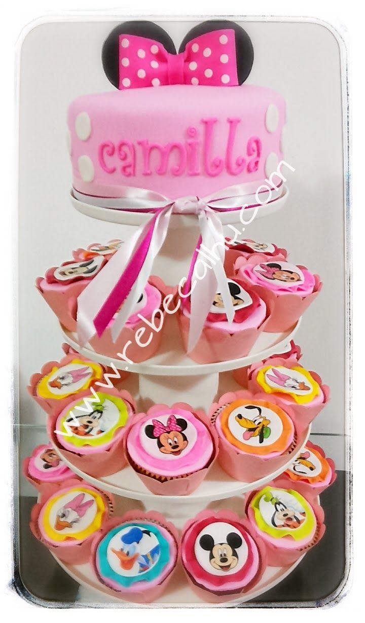 pink minnie cake n cupcakes