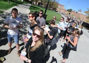 University of Colorado at Boulder students stood in long lines today to snag tickets to hear President Barack Obama speak Tuesday on campus, including several students who got in line in the wee hours of the morning. There will be a limited number of tickets available to the public.