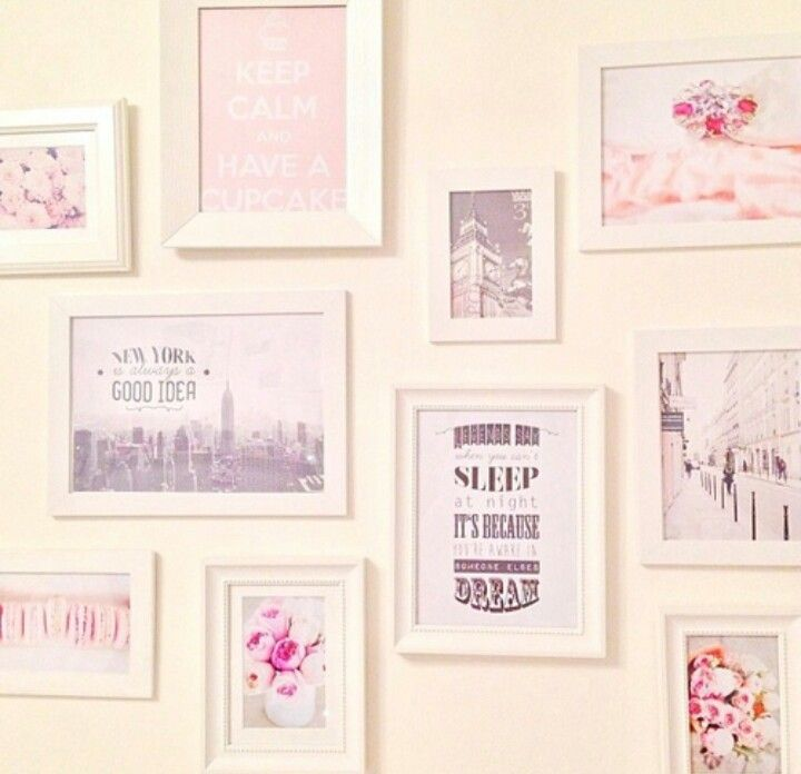 Cute picture frames and photos for room its girly and chic ♡ totally wanna do this