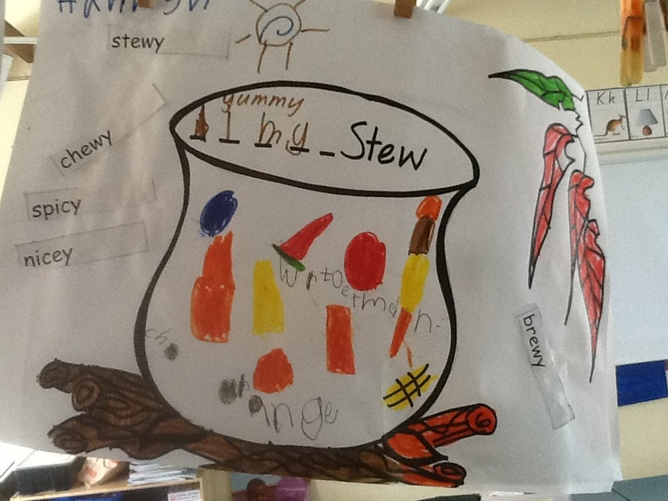 Describing words, writing and pic for stew inspired by Wombat Stew
