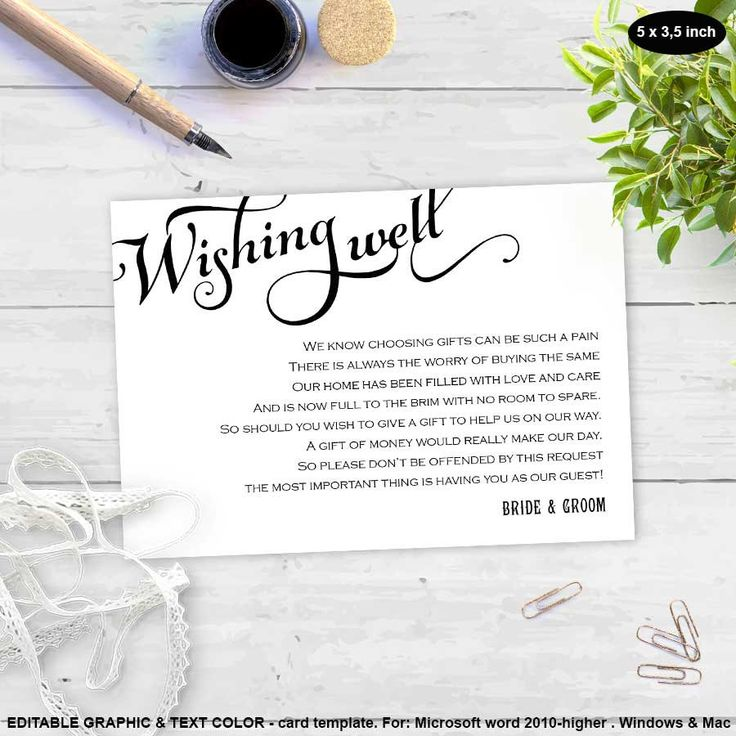 Wishing well card  Printable  Wedding wishing well card  Editable graphic color & text  Template  FEWC  T53 by WeddingInvitationByC on Etsy