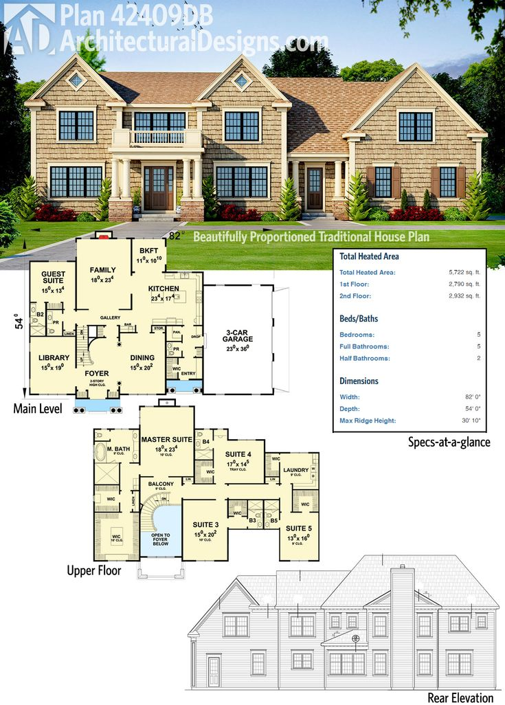 plan 42409db beautifully proportioned traditional house plan - Utility Bath House Plans