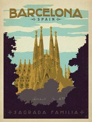 Barcelona, Spain - Our latest series of classic travel poster art is called the  World Travel Poster Collection. We were inspired by vintage travel  prints from the Golden Age of Poster Design (a glorious period spanning  the late-1800s to the mid-1900s.) So we set out to create a collection  of brand new international prints with a bold and adventurous feel.