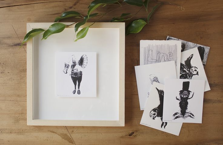 These are a bunch of tiny lino and photocopy transfer prints, each on squares of Fabriano paper measuring approximately 10cm by 10cm by PencilheartArt.  #prints #printmaking #music #illustration #linoprints