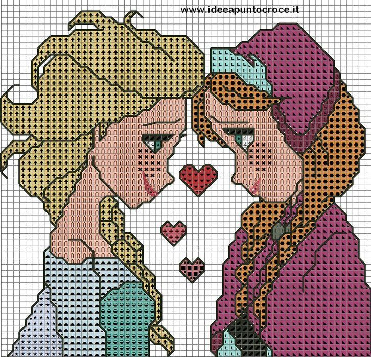 Anna and Elsa (frozen) crochet graphgan