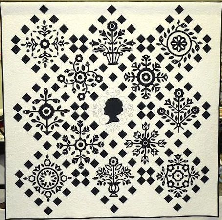 Cameo, a black and white Baltimore Album quilt by Richard Larson