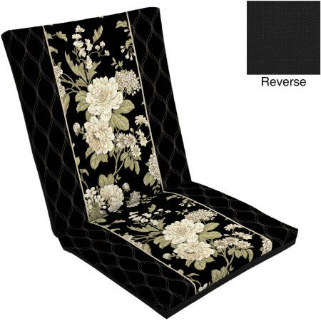Mainstays Outdoor Dining Chair Cushion, Black | Outdoor ...