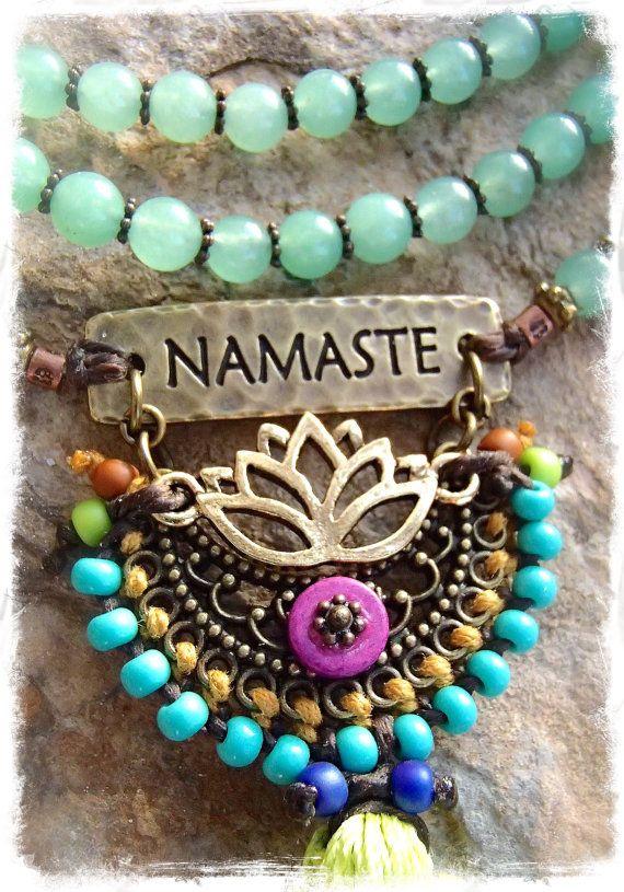 NAMASTE Lotus necklace Macrame TASSEL necklace Yoga door GPyoga
