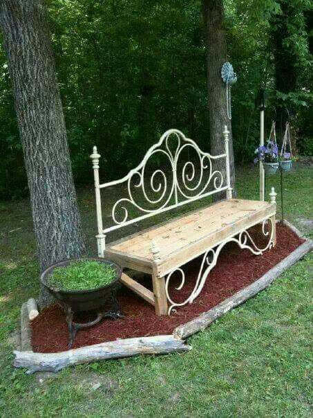 Garden Yard Bench made of reclaimed lumber and bed frame saved from land fill. https://www.pinterest.com/adriankaemmerer/storage-benches/
