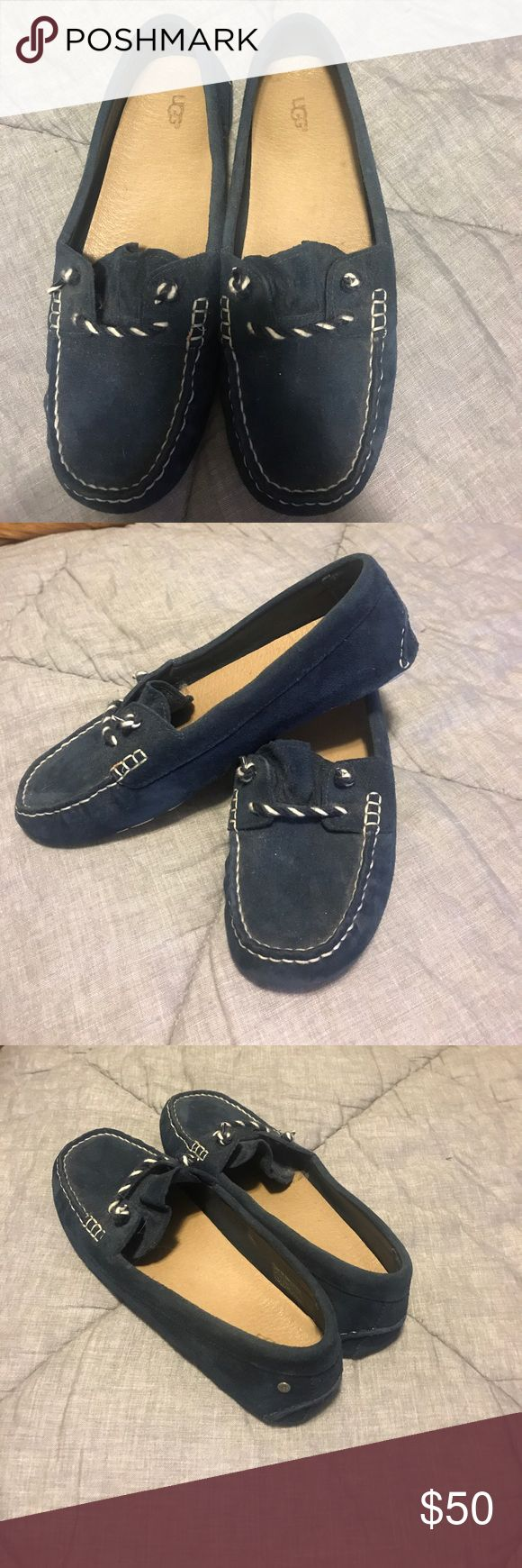 Ugg Navy Suede nautical Loafers Navy Suede loafers - not slippers- these are similar to a driving moc. Very cute and comfy with jeans and shorts, dress them up or down. Worn 2 or 3 times at most. Bought just a little too small. UGG Shoes Flats & Loafers