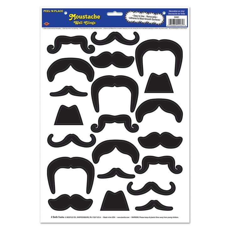 Moustaches Peel 'n Place (1). These novelty decals will set the scene for your party goers as they gather at your 'Stache or Movember themed party!  Includes 21 mustache themed decorations (on one sheet); reuseable.  Price is per (1) one cling insta-theme sheet 30.5 cm x 43.2 cm