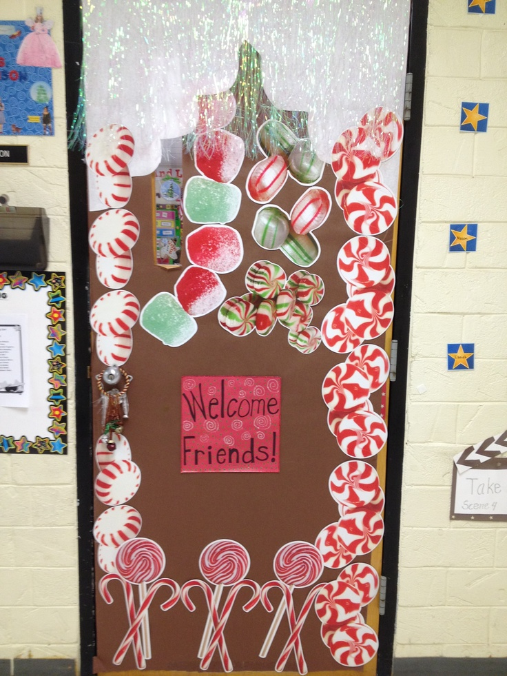 Candyland Christmas Door Decoration Ideas : Winter theme gingerbread door decoration got the candy