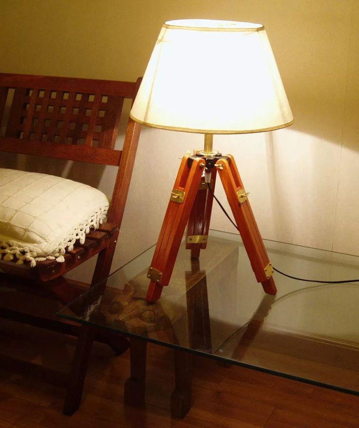 lampara tripode de mesa escritorio de madera y bronce