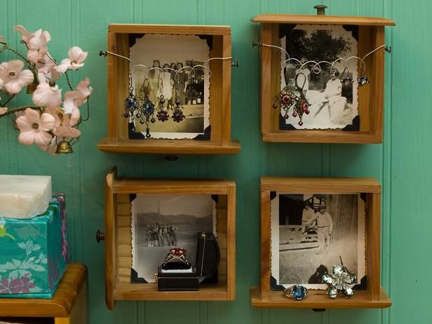 Pull Out Your Drawers ~ Take the drawers out of a miniature dresser and mount them on the wall to create a unique shelving solution for any room in the house. Jennifer and Kitty O'Neil suggest adding a favorite picture in each drawer. Love the use of decorative wire to add more storage and style!