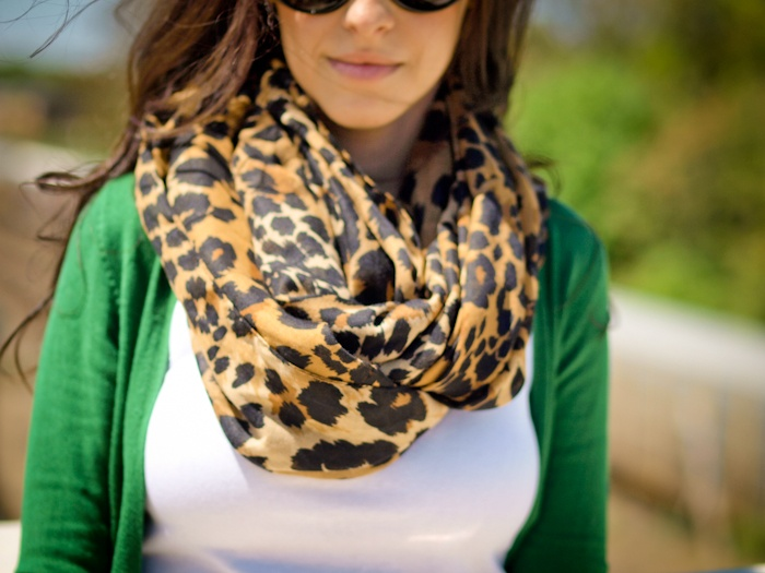 Leopard scarf with green sweater
