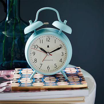 """Newgate Covent Garden Clock - Sleepy Blue #westelm $30 4.6""""w x 2.2""""d x 6.7""""h. Glass face; metal base"""