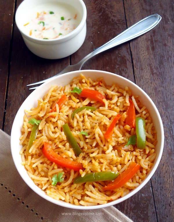 Capsicum Rice recipe - spicy bell pepper rice