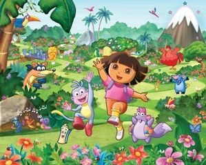 Childrens Dora Wallpaper kids bedroom  Dora the Explora & friends wallpaer mural  Any girl would love this bedroom wallpaper in her room  Keep her quite for hours as she enters a dream world with Dora