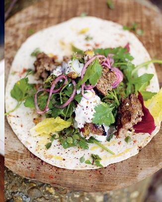 Grilled lamb kofta kebabs with pistachios & spicy salad wrap | Jamie