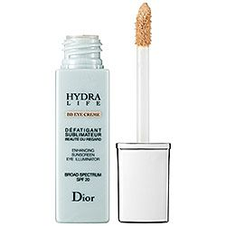 Dior Hydra Life BB Eye Crème #sephora. Eye cream and concealer in one! This revolutionary product moisturizes, smooths, and conceals dark circles/puffiness while illuminating and protecting the sensitive eye area. Great for anyone with parched under eye skin &/or those who want to prime, protect(spf 20), moisturizer & conceal all at one!