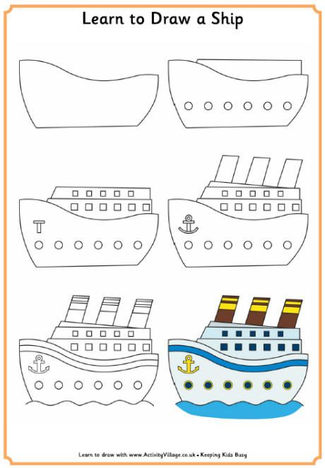 apprendre dessiner un bateau how to draw a simple cartoon like ship boat or yacht arts. Black Bedroom Furniture Sets. Home Design Ideas
