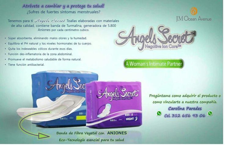Linea de toallas higiénicas con Aniones para mejorar tu salud! Si sufres, padeces o quieres prevenir en tu salud intima pregunta por Angels Secret. Dale una oportunidad a tu salud y vida!