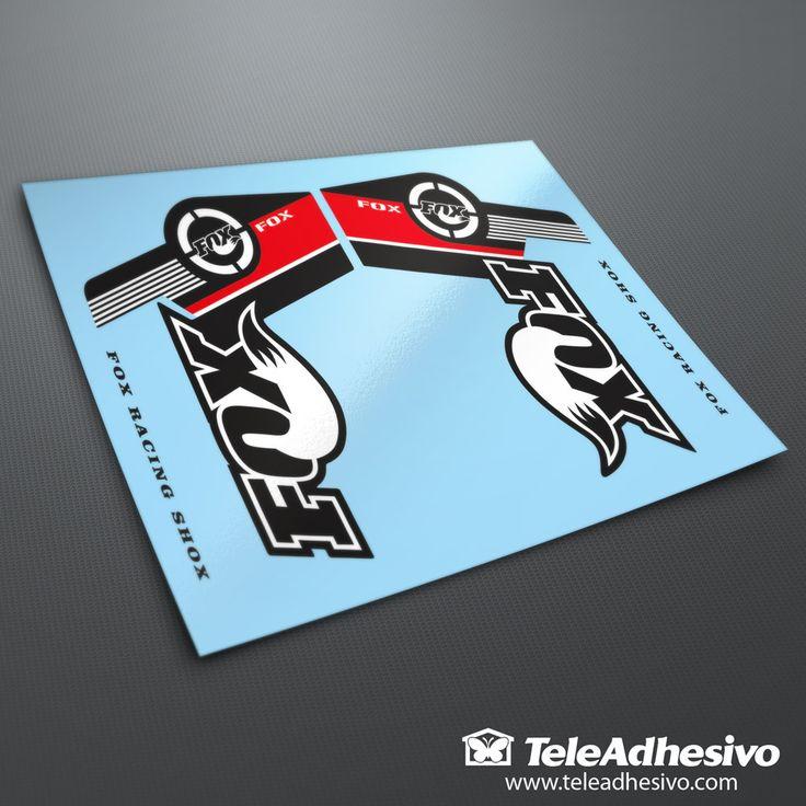 Juego de dos pegatinas para las horquillas delanteras de bicicleta BTT marca Fox Racing Shox. Colores totalmente personalizables. Tamaño: 15x11cm. cada una.