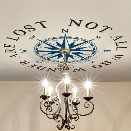 Ceiling Medallion Compass Rose Decal Nautical Decor NOT ALL WHO WANDER ARE LOST