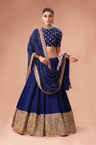 Sabyasachi, Carma, Royal blue matka lehenga with blue silk aari and meena blouse and mukaish dupatta with zardozi detai