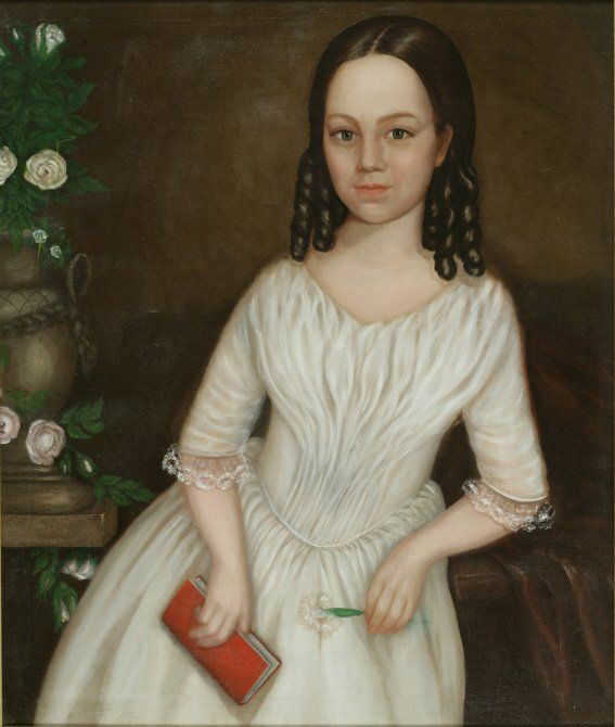 Sarah Bennett, age 11 and Mary Bennett, age 10 Possibly Isaac A. Wetherby (American, 1819-1904)   Oil on canvas   29 x 24 inches (each)