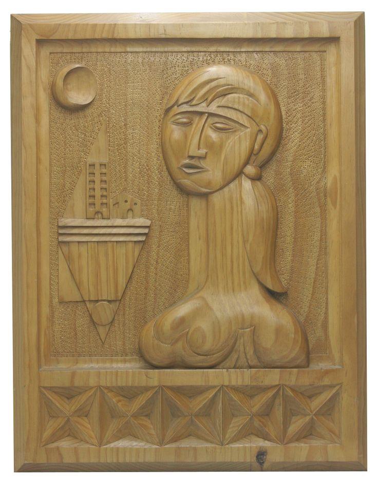 """retablo tallado en madera de p'ino Suecia. 62 x 48 x 4  titulo """"MI COMPAÑERA""""."""