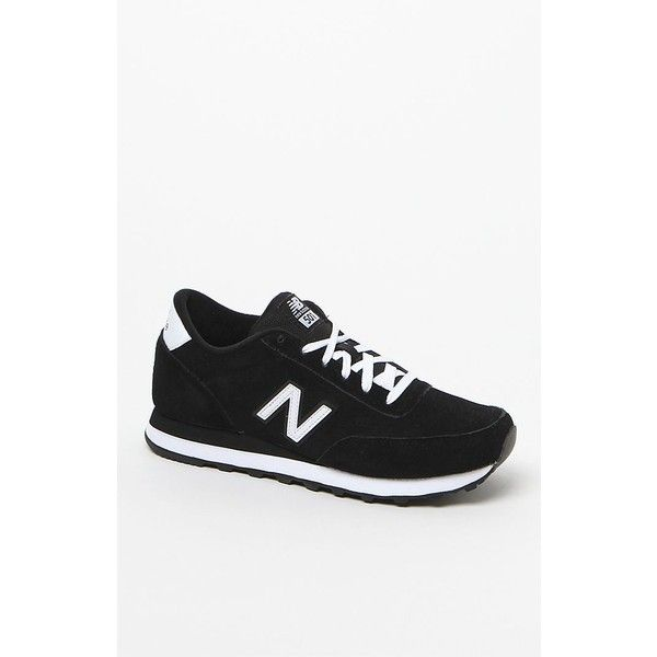 New Balance Classic All Suede Sneakers (£49) ❤ liked on Polyvore featuring shoes, sneakers, black and white shoes, suede sneakers, new balance footwear, laced up shoes and lacing sneakers
