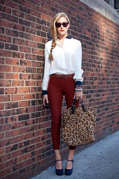 Brown,leopard,tote,bag,white,blouse,maroon,pants,