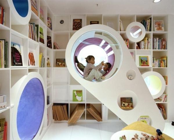 ungewöhnliche kinderzimmer ideen bücherregale