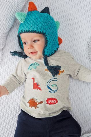 Buy Grey Dino Appliqué T-Shirt (0-18mths) online today at Next: United States of America: