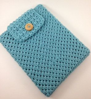 Hand Crocheted Ipad Sleeve / Cover / Case in Aqua by TheCheeryEwe, $14.00