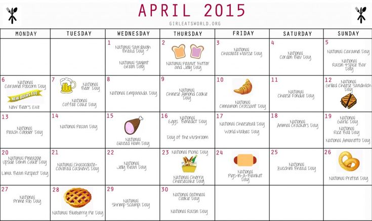 National Food Day Calendar April 2016