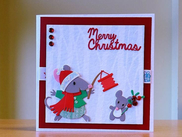 Christmas Card, Handmade - Marianne mice family die. For more of my cards please visit CraftyCardStudio on Etsym.