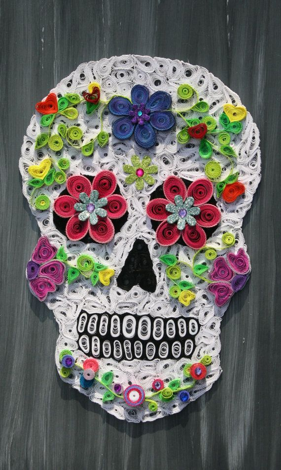 Paper Quilled Sugar Skull by LorysQuilling on Etsy | Skull ...