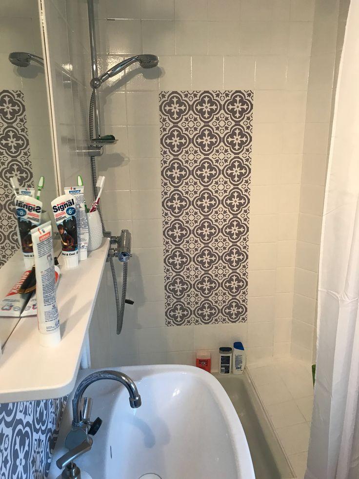 Bathroom after - Fliesenlack - Tiles stickers - Boho - Cabane au lac