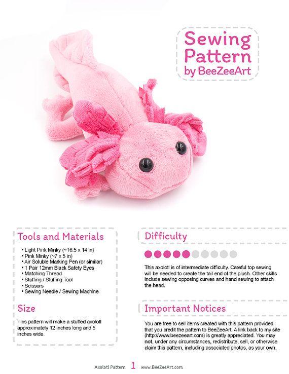 Axolotl Stuffed Animal Sewing Pattern, Plush Toy Pattern, PDF ...