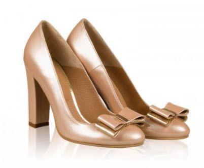 Pantofi aurii cu tocul gros si funda din piele naturala