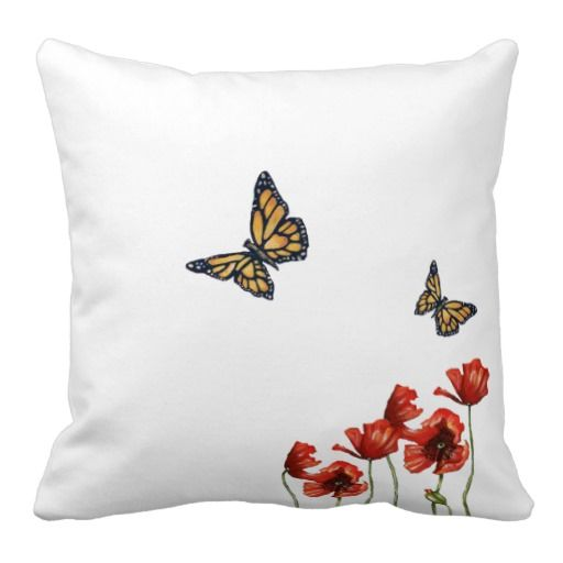 #Butterfly and Red #Poppy Cushion Throw #Pillow