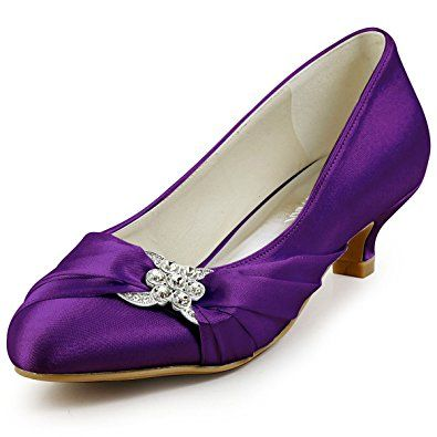ElegantPark EP2006L Women Closed Toe Comfort Heel Rhinestone Satin Wedding  Bridal Shoes Purple US 11  4906ceb85e64
