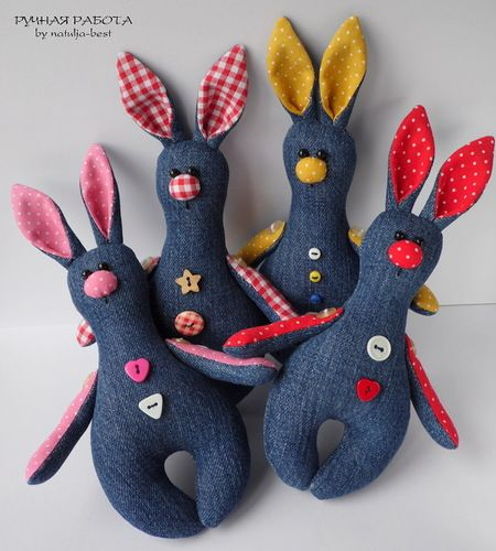 Джинсовые зайцы  Jeanse rabbits #natuljabest #handmadetoy #toy #rabbit #bunny