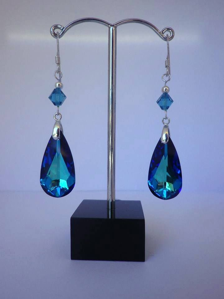 Something Blue...  Custom design bridal Swarovski Crystal teardrop earrings