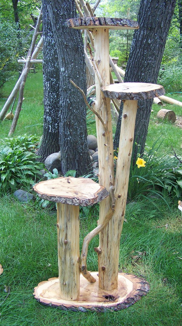 Plant Stand Image Cedar Log Stands Outdoor Home Gardens Garden Plants