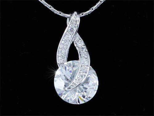 """Κολιέ με Κρεμαστό Κόσμημα Συνθετικό Διαμάντι 3 Καράτια Round Cut """"Calista"""" - memoirs.gr"""